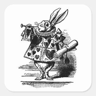 Vintage Alice in Wonderland White Rabbit as Herald Square Sticker