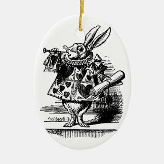 Vintage Alice in Wonderland, White Rabbit Ceramic Oval Decoration