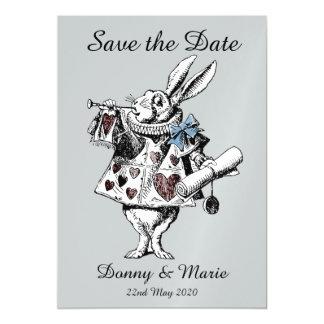 Vintage Alice in Wonderland White Rabbit Date Card Magnetic Invitations