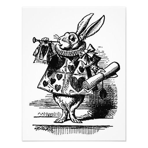 Vintage Alice in Wonderland, White Rabbit Herald Announcements