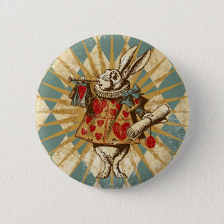 Vintage Alice White Rabbit 6 Cm Round Badge