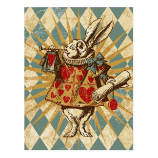 Vintage Alice White Rabbit Postcard