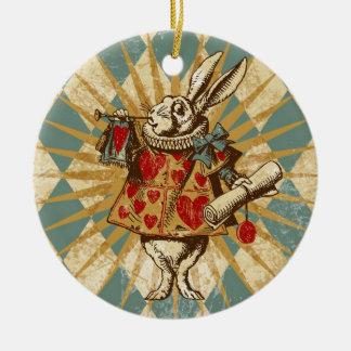 Vintage Alice White Rabbit Round Ceramic Decoration