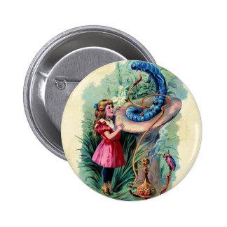 Vintage Alive In Wonderland Button