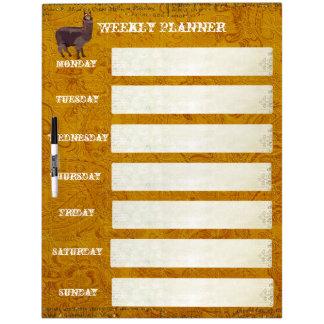 Vintage Alpaca Weekly Planner Dry Erase Board