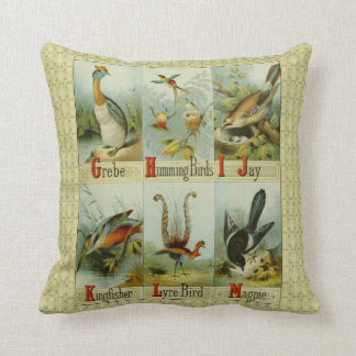 Vintage alphabet birds: G-M, Grebe to Magpie, Cushion