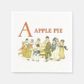 Vintage alphabet letters apple pie paper napkins