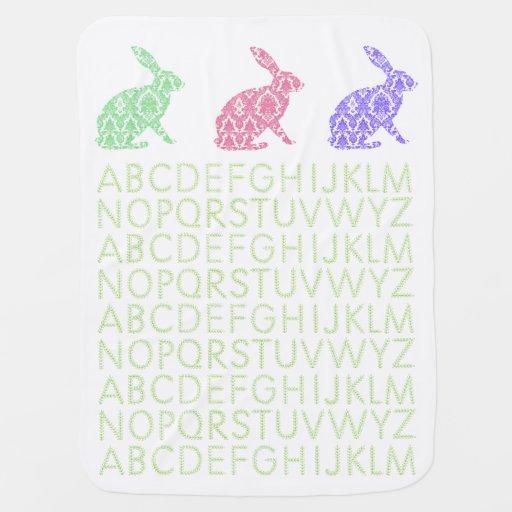 vintage alphabet rabbits baby blanket white
