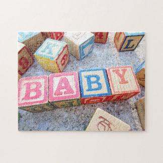Vintage Alphabet Wooden Word Baby Building Blocks Jigsaw Puzzle