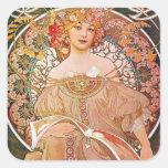 Vintage Alphonse Maria Mucha Art Square Stickers