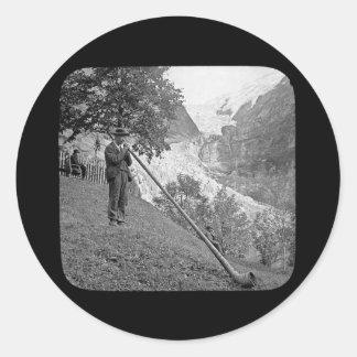 Vintage Alphorn  Magic Lantern Slide Round Sticker