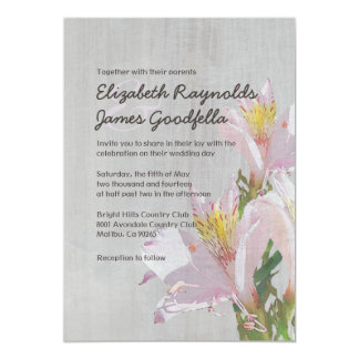 Vintage Alstroemeria Wedding Invitations