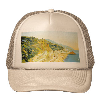 Vintage Amalfi Campania Italy Travel Poster Mesh Hats