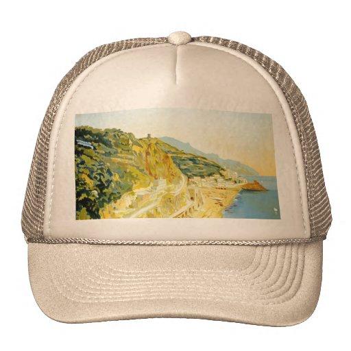 Vintage Amalfi Campania Italy Travel Poster Mesh Hats