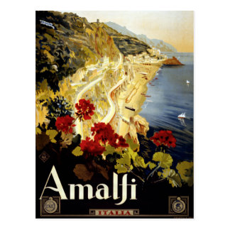Vintage Amalfi Coast Italia Travel Postcard