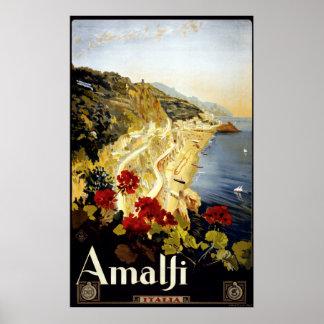 Vintage Amalfi Coast Italia Travel Poster