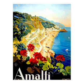 Vintage Amalfi Italy Europe Travel Postcard