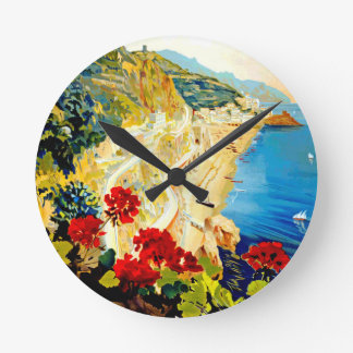 Vintage Amalfi Italy Europe Travel Round Clock