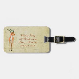 Vintage Amber Buck Luggage Tag