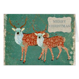 Vintage Amber Ornate Deer Christmas Card