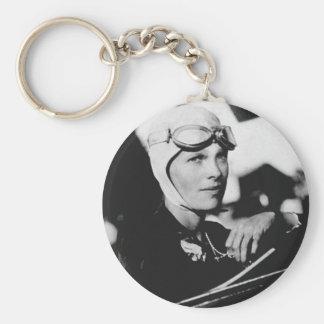 Vintage Amelia Earhart Photo Basic Round Button Key Ring