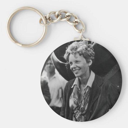 Vintage Amelia Earhart Photo Portrait Key Chains