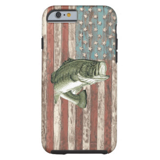 Vintage America Flag Bass Fishing Case Tough iPhone 6 Case