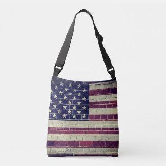 Vintage America flag on a brick wall Crossbody Bag