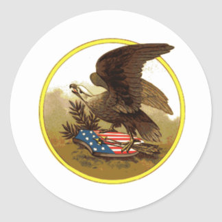 Vintage American Bald Eagle on Shield Classic Round Sticker