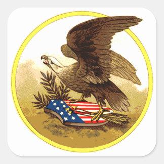 Vintage American Bald Eagle Square Sticker