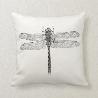 Vintage American Dragonfly Dragon Fly Template Throw Pillow