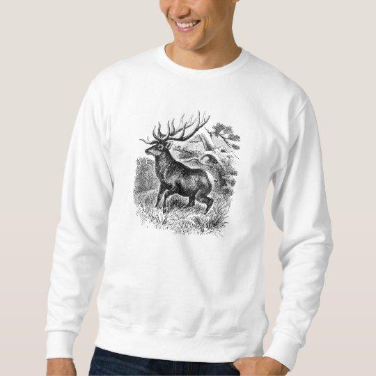 Vintage American Elk Personalised Old Illustration Sweatshirt