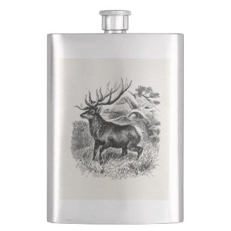 Vintage American Elk Personalized Old Illustration Hip Flask