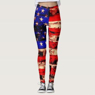Vintage American Flag #10 Leggings