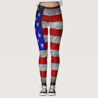 Vintage American Flag #15 Leggings