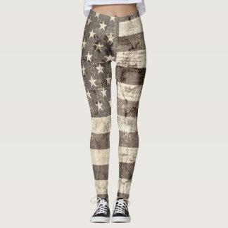 Vintage American Flag #7 Leggings