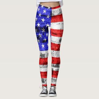 Vintage American Flag #9 Leggings