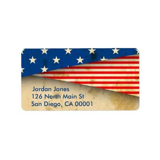 Vintage American Flag Address Label