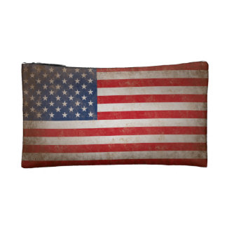 Vintage American Flag Makeup Bag