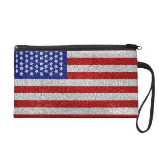 Vintage American Flag Bagettes Bag Wristlet Purse