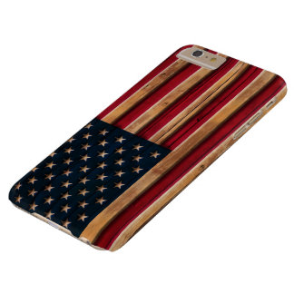 Vintage American Flag Distressed Wood Look Barely There iPhone 6 Plus Case