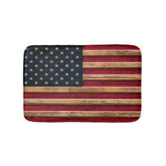 Vintage American Flag Distressed Wood Look Bath Mat