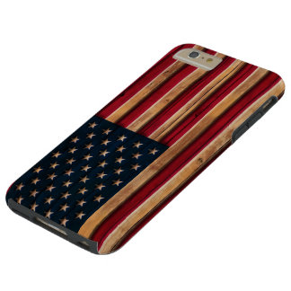 Vintage American Flag Distressed Wood Look Tough iPhone 6 Plus Case