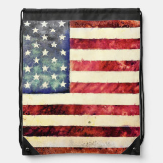 Vintage American Flag Drawstring Bag