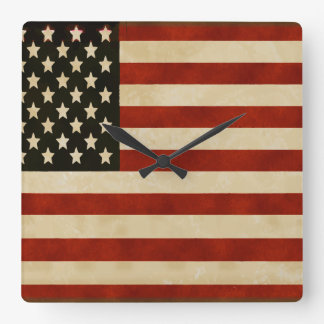 Vintage American Flag GIFTS Square Wall Clock