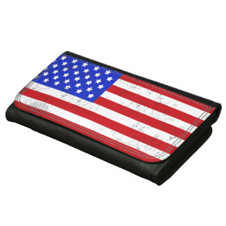 Vintage American Flag Leather Wallet