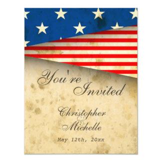 Vintage American Flag Patriotic USA Wedding 11 Cm X 14 Cm Invitation Card