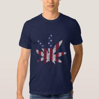 Vintage American Flag Pot Leaf Tshirt