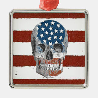 Vintage American Flag Skull Christmas Ornament