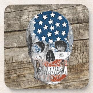 vintage american flag skull coaster
